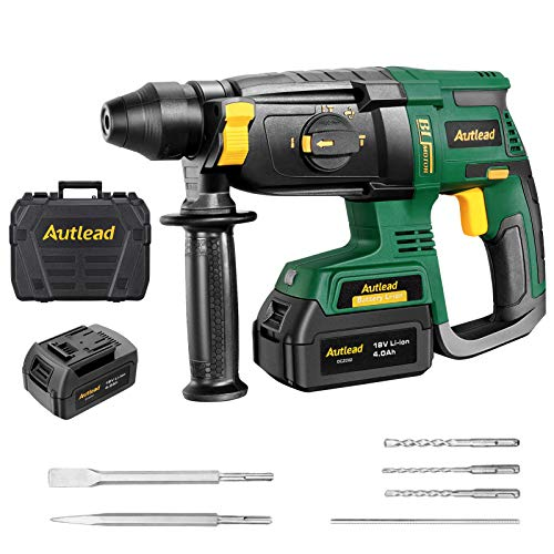 Autlead DCZC02 Cordless Hammer Drill 18 V with 4 Functions in 1, 1.7J Impact Energy and 1200 RPM, SDS-Plus Drill Chuck and Safety Switch, Auxiliary Handle and 5-Piece Drill Bit Set in Case