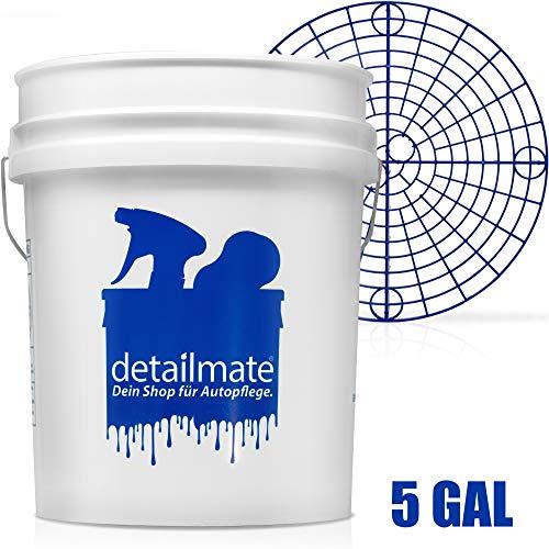 detailmate Set für die professionelle Auto Handwäsche: New detailmate Wash Bucket Wasch Eimer 5 Gallonen (ca.20 Liter) Made by GritGuard + Grit Guard Eimer Einsatz blau
