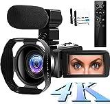 Camescope 4K Caméscope WiFi Caméra Vlog 48MP Caméscope numérique 30FPS Vision Nocturne Infrarouge Camescope à écran Tactile 3 Pouces avec Microphone et Capot