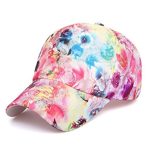 Amorar Blumen Baseball Kappe Hip-Hop Cap, Frauen Mädchen Sommer Mesh Caps Einstellbare Sonnenhut Hysteresenhüte für Laufen Golf Angeln Wandern Outdoor Aktivitäten,EINWEG Verpackung
