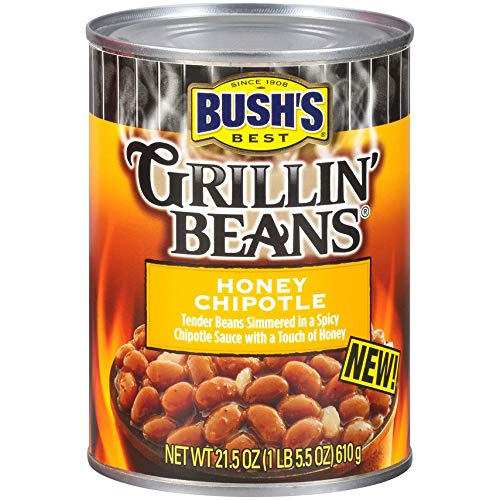 BUSH'S BEST Honey Chipotle Grillin' Beans, 21.5 Ounce Can (Pack of 12), Canned Beans, Beans Canned, Source of Plant Based Protein and Fiber, Low Fat, Gluten Free