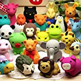 URSKYTOUS 48Pcs Animal Erasers Bulk Pencil Erasers Kids Japanese Come Apart Puzzle Eraser Toys for Party Favors, Classroom Prizes, Carnival Gifts, Pinata Filler and School Supplies for Boys and Girls