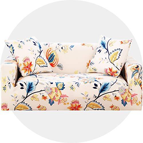 Carvapet Sofaüberwurf 3 Sitzer Sofabezug Couch Überzug Stretch, Beige Blume
