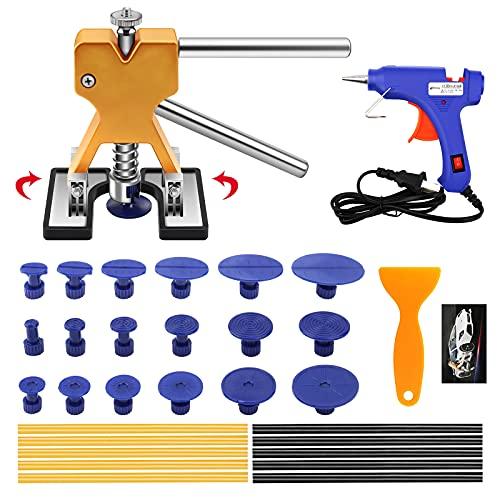 Kit de Extractor de Abolladuras Coche con extractor de abolladuras doradas y pistola de pegamento, para la eliminación de abolladuras automáticas, abolladuras menores