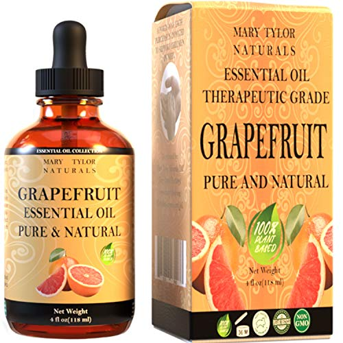 Grapefruit Essential Oil (4 oz), Therapeutic Grade for Stress Relief, Relaxation, Aromatherapy, Diffuser, Home by Mary Tylor Naturals