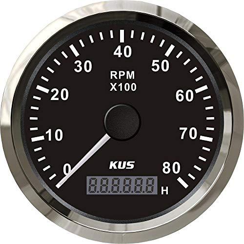 WY-YAN MUS 85mm Auto Marina tacómetro 0-8000RPM 12V 24V con LCD Digital Contador de Horas de Coche del Carro del Barco Tacho Rojo diámetro de luz de Fondo/Amarillo (Color : Black)