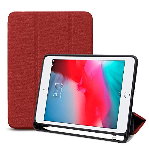 Maxace iPad Mini 5 Case with Pencil Holder, Auto Sleep/Wake Smart Trifold Case with Strong Protection, Ultra Slim Soft TPU Back Cover for Apple iPad Mini 5th Gen - Red