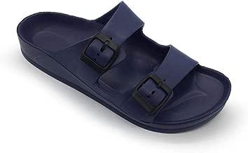 FUNKYMONKEY Women's Comfort Slides Double Buckle Adjustable EVA Flat Sandals