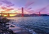 MX-XXUOUO Puentes Costa Tarde Estados Unidos Puente Golden Gate,1000 Piezas de Rompecabezas de Madera, Rompecabezas de Paisaje - 29.5'x 19.7'