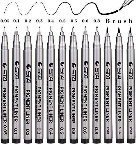 12 Stück Fineliner Stifte Schwarz Pigmentliner Set Wasserdicht mit 9 Linienbreiten und 3 Brush zum Schreiben Zeichnen Skizzieren