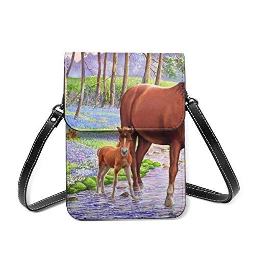 Small Shoulder Bag, Bluebell Ponies Crossbody Bag CellPhone Wallet Purse Lightweight Crossbody Handbags for Women Girl
