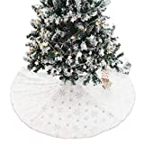 PROTAURI Falda de árbol de Navidad Estera de árbol - Lana de Cordero Suave con Bordado de Lentejuelas Cubierta de Base de Nieve Decoración Alfombra de árbol Encantador y Lujoso Año Nuevo