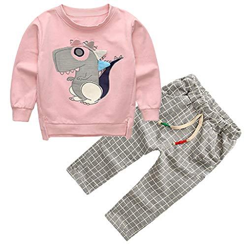 Toddler Kids Baby Boys Sweatshirt Cartoon Tops Plaid Pants Trousers Outfits Set