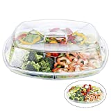 Geesta Appetizer Serving Tray with Lid On Ice Shrimp Cocktail Serving Dish Compartment Flip-Lid Serving Bowls for Parties | 2 Layers + 2 Spoons