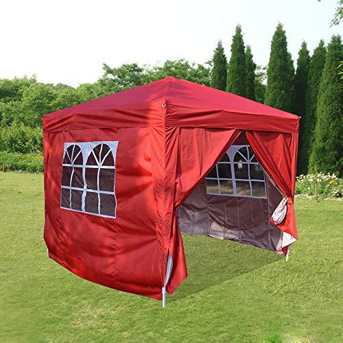 ANABELLA Impermeable Los 2.5 x 2.5 m Surgen El Toldo de la Tienda del Partido del Toldo del Jardín de la Carpa del Gazebo, Rojo