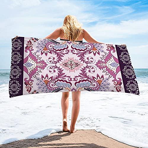Surwin Toalla de Playa Grande, Microfibra Bohemia Impresión Secado Rápido Toalla de Piscina Toalla de Arena Antiadherente para Verano Playa, Yoga, Picnic, Hotel (Púrpura,75x150cm)