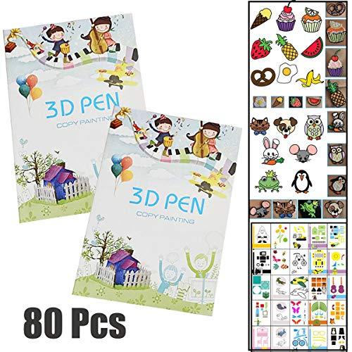 plantillas bolígrafo 3d Fiyuer 40 Pcs papel de dibujo de la impresora para la pluma de la impresión 3D patrones dibujos animados embroma regalo DIY
