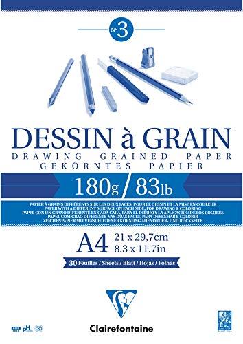 Clairefontaine 96624C Bloc Encollé Papier Dessin à Grain - 30 Feuilles Papier Dessin au Grain Marqué - A4 21x29,7 cm 180g