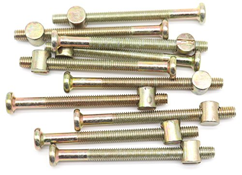10-Pack M6-1.0 x 75mm Allen Head Furniture Cot Crib Bed Bolt Barrel Nut, Hex Key Drive Socket Cap Bolts Screws for Crib Bed, Zinc Plated