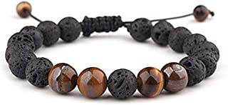 LALANG Lava Rock Stone Essential Oil Anxiety Diffuser Adjustable Bracelet Unisex with Brown Tiger Eye Stone