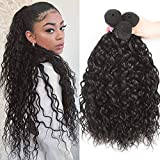 Kafeier Brazilian Water Wave 3 Bundles Human Hair Bundles Double Strong Weft No Shedding No Tangle 8a Soft Hair Weave Natural Sew In Weave Natural Black Hair 24 26 28 Inch
