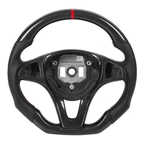Volante, volante de fibra de carbono Cuero napa Costuras rojas Empuñadura para los dedos del volante