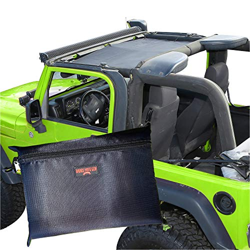 BADASS MOTO Sunshade Mesh Bikini Top Cover Compatible with Jeep Wrangler 1997-2006 TJ - Easy No Tools Install. Front Seat Sun Shade Keeps You Cool. UV + Wind & Noise Protection. Gifts Accessories