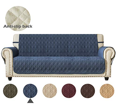 Ameritex Couch Sofa Slipcover 100% Waterproof Nonslip Quilted Furniture Protector Slipcover for Dogs, Children, Pets Sofa Slipcover Machine Washable (Blue, 78')