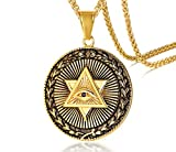 MEALGUET Gold Plated Stainless Steel The All-Seeing-Eye Illuminati Eye of Providence Pyramid Pendant Necklace with 24' Chain