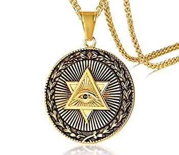 MEALGUET Gold Plated Stainless Steel The All-Seeing-Eye Illuminati Eye of Providence Pyramid Pendant Necklace with 24  Chain