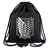 Cosstars Attack on Titan Anime Sporttasche Turnbeutel Training Tasche Gym Sack Drawstring Bag Schwarz-1