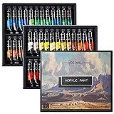 Set di pittura acrilica 48 colori/ tubetti (12ml/0.4 oz.)pittura su tela e artigianato, non sbiadisce, non tossico, vernici per principianti, studenti e artisti professionisti