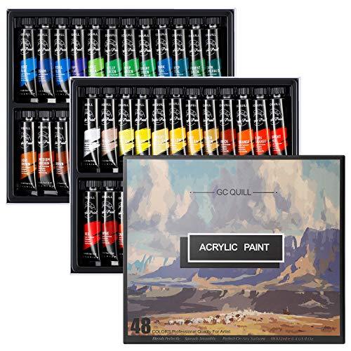 GC QUILL 48 Colores Pintura Acrílica, Kit de Pintura Acrilica Manualidades para Lienzos, Papel, Madera, Cerámica, Telas
