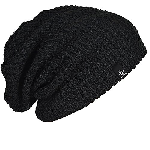 FORBUSITE Mens Slouchy Long Oversized Beanie Hat Black Knit Cap for Summer Winter