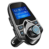 Nulaxy Bluetooth Car FM Transmitter Audio Adapter Receiver Wireless Handsfree Voltmeter Car Kit TF Card AUX USB 1.44 Display - KM19 Black