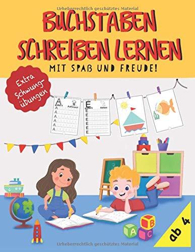 Buchstaben schreiben lernen mit Spaß und Freude. Tolles Vorschulheft für Jungen und Mädchen ab 4 Jahren mit extra Schwungübungen! Buchstaben einfach lernen in der Vorschule oder der Grundschule.