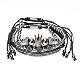 Celway Punk Crown Handmade Bracelet Imperial Luxury Fashion Jewelry, Golden Bead Braided Bangle Link, Unisex King Queen Charm Gifts (black)