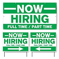 VictoryStore - Now Hiring Full Time and Part Time Banner and Sign Set 2 feet x 4 feet (1) Banner & 18 inches x 24 inches (2) Sign Set,13492