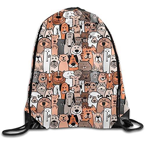 huatongxin Tote School Rucksack,Bolsa de Gimnasio Ligera,Unisex Bolsa de Hombro,Drawstring Backpack,Doodle Dogs and Cats Seamless Sport Cinch Pack,Travel String Pull Bag,Gym Sack Bag