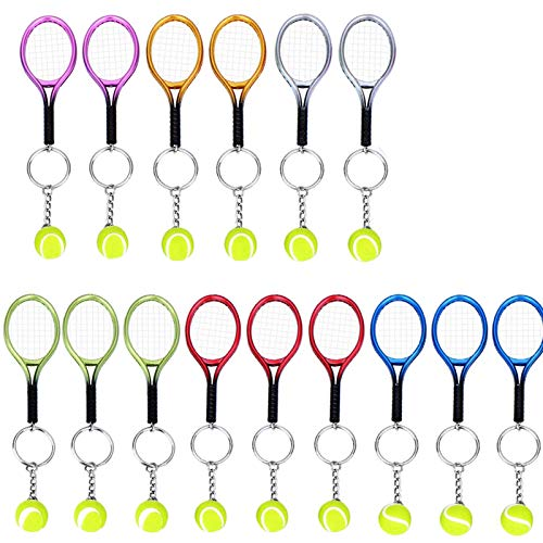 Creatiees 15pz Mini Tennis Racchetta Portachiavi Chiave Squillare - Squisita & Leggero(6 Colori)
