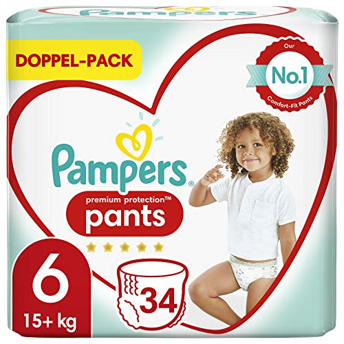 Pampers Premium Protection Pants Größe 6, 34 Höschenwindeln, 15kg+, Komfort und Schutz mit den Höschenwindeln von Pampers für einfaches Anziehen