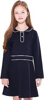 SOLOCOTE Kids Girls School Uniform Jumper Dress Navy Pleated Peter Pan Sundress 3-12Y