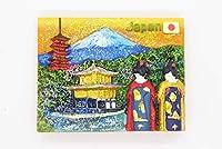 日本土産 富士山 金閣寺 舞妓 着物 金色 日の丸 国旗 JAPANマグネット ラメ入り 雑貨