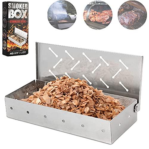 Räucherbox für Grill, Holzspäne – Smoker Grill Zubehör – Holzkohle & Gas Grill Fleisch Räuchern mit Klappdeckel – Bestes Grillzubehör & Utensilien Geschenk für Papa