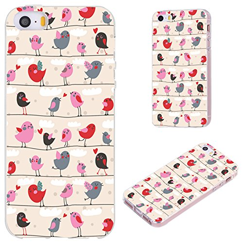 iPhone SE Case,iPhone 5S Case,iPhone 5 Case,VoMotec [Original Series] Anti-Scratch Slim Flexible Soft TPU Protective Skin Cover Case for iPhone 5 5S SE,Cute red Pink Cartoon Birds