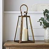 lights4fun lanterna con rifinitura in rame di 35,5 cm di altezza con candela led a pile truglow® per uso in interni