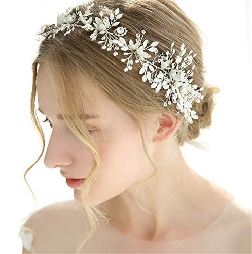 Tiara de novia hecha a mano con perlas de imitación de cristal...