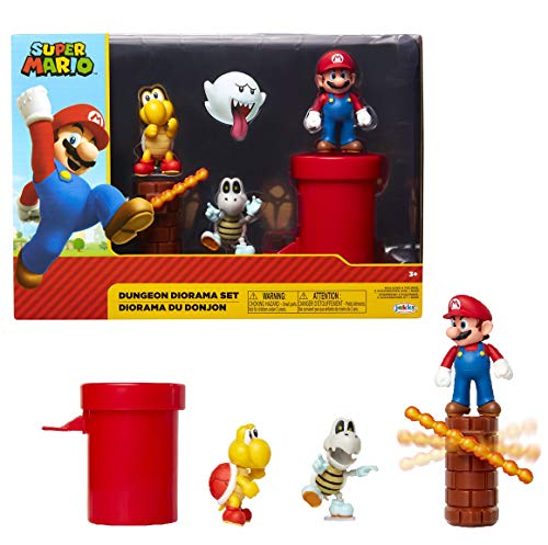 Jakks Pacific Dungeon Diorama Set, 6 cm Super Mario - Set de Figuras Mundo Dungeon Bunt