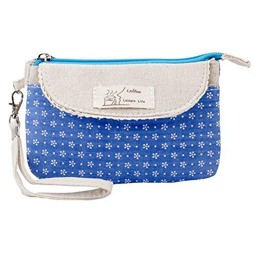 VAGA - Bolígrafos de lona para cosméticos (algodón y poliéster, con cremallera), diseño de flores, color azul y blanco