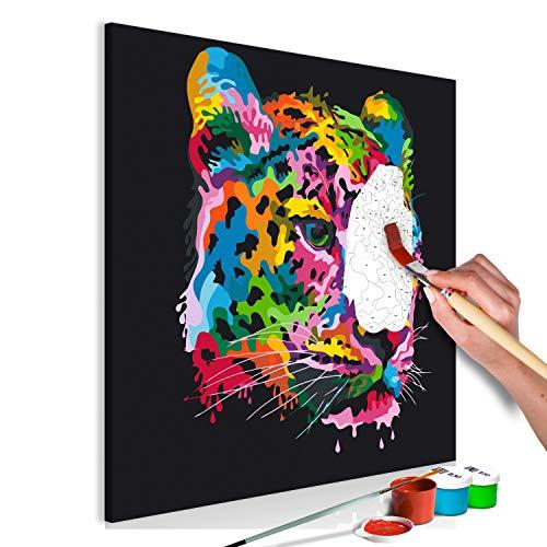 murando Pintura por Números Leopard Colorido 60x60 cm Cuadros de Colorear por Números Kit para Pintar en Lienzo con Marco DIY Bricolaje Adultos Niños Decoracion de Pared Regalos n-A-0913-d-a